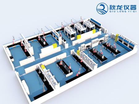 实验室通风柜实验台柜3D效果图2