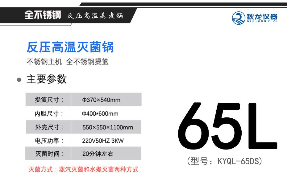反压高温灭菌锅65L规格