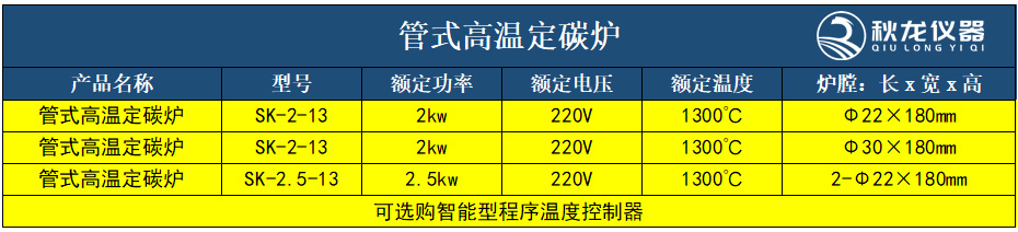 管式高温定碳炉技术参数